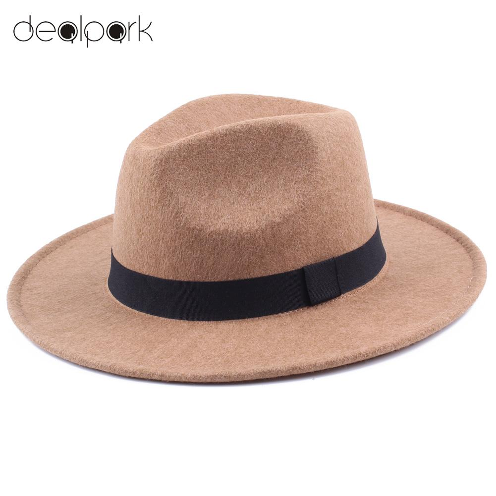 Online Shop Fedoras Hats for Women Men Unisex Felt Trilby Hats Wide Brim  Adjustable Fedora Jazz Hat Caps Ladies chapeu feminino femme  77a214d01e97