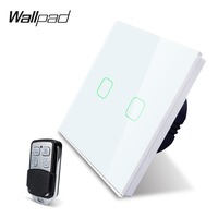 Wallpad K3 Capacitive Double Dimmer Remote Touch Switch 2 Gang 4 Colors Tempered Glass Panel Wall Electrical Light Switch RF433