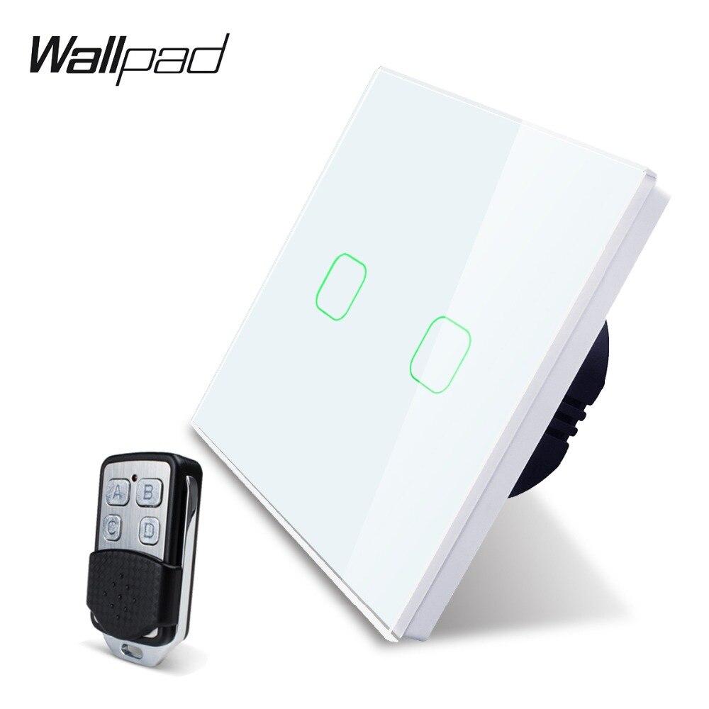Wallpad K3 capacitif Double gradateur commutateur tactile à distance 2 Gang 4 couleurs verre trempé panneau mural interrupteur de lumière électrique RF433