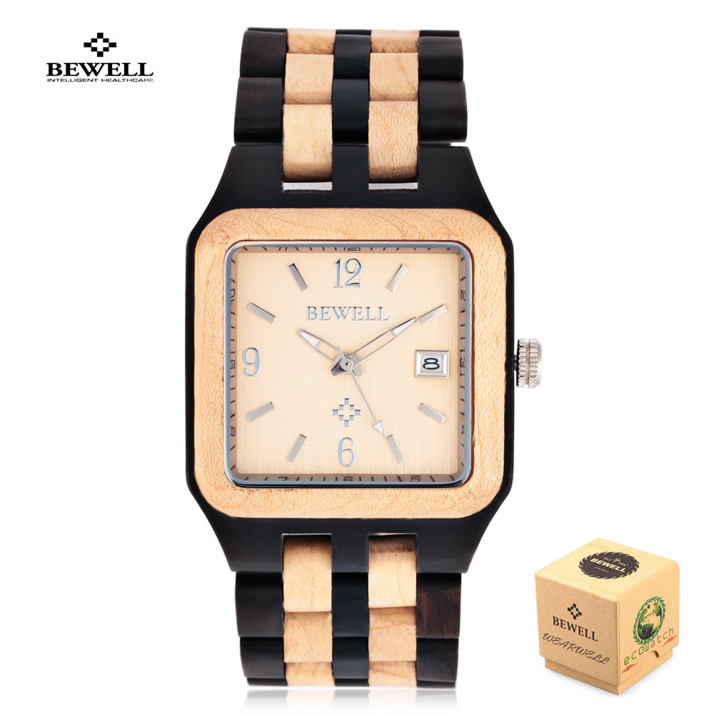Wooden Men Watch Relogio Masculino Fashion Brand Bewell Quartz Watches Nature Casual Wristwatch Full Wood Calendar Clock Men bewell natural wood watch men quartz watches dual time zone wooden wristwatch rectangle dial relogio led digital watch box 021c