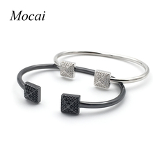 Mocai Mother's Day Gift New Simple Brand Square Silver Charm Bracelet Plated White Black CZ Zirconia Graduation Jewelry Hot ZK30