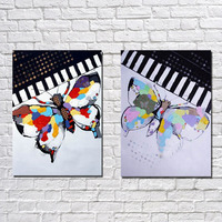 High Quality Butterfly and piano Oil Paintings on Canvas 2pcs/set home Decoration Oil Wall Art Paints in Hotel Office Home Decor