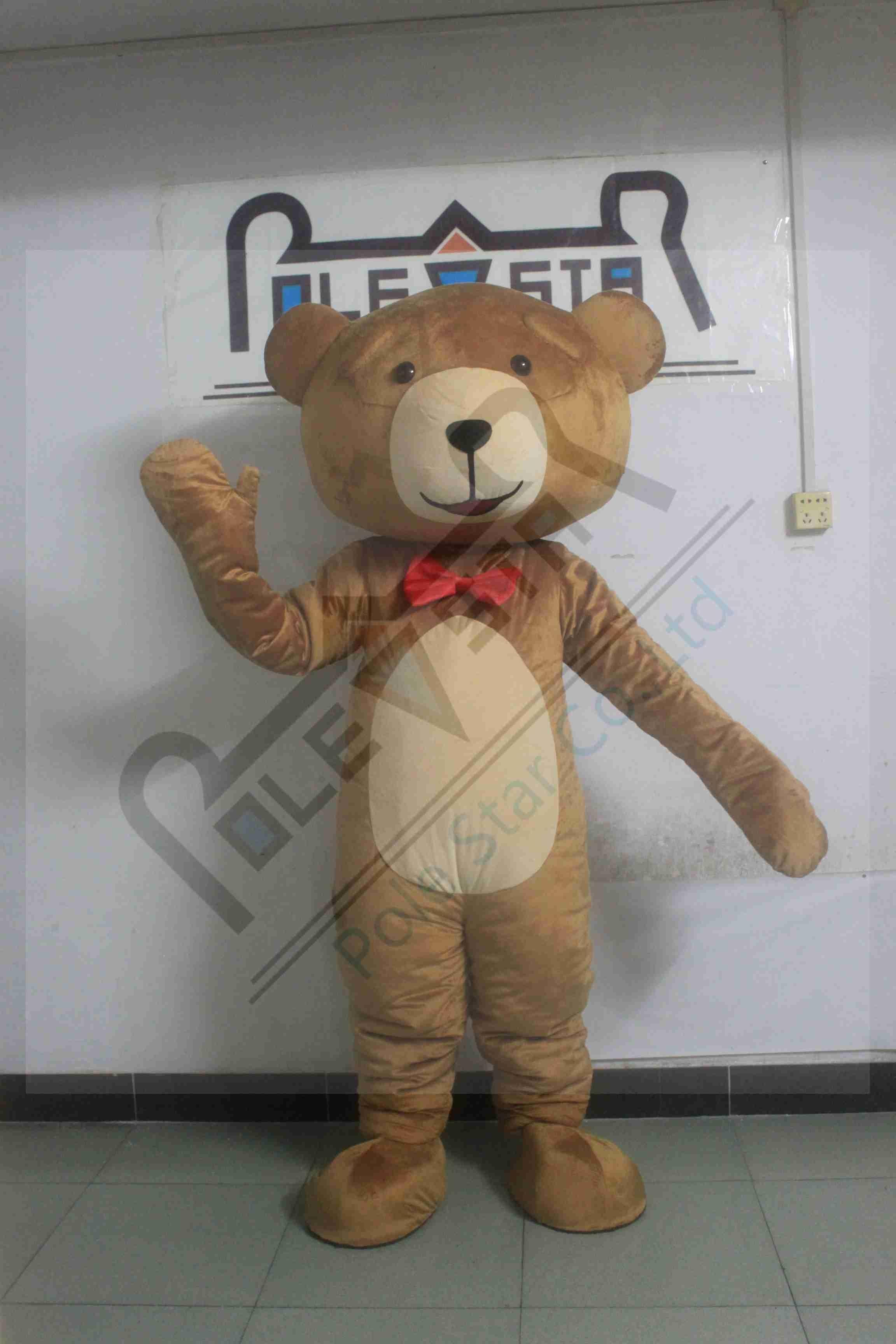 Вежливый Мишка талисман костюмы красный бант мультфильм плюшевый талисман костюмы коричневый медведь ростовой костюм в виде пиццы ted