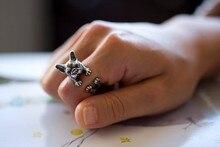 Retro Animal Handmade French bulldog ring Ring Fashion Antique Gold Silver Vintage Adjustable Rings for women JZ315