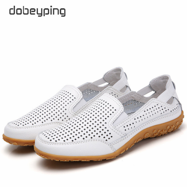 חדש אמיתי עור נשים קיץ נעלי מגזרות אישה ופרס אופנה חלול נשים של דירות לנשימה נשי נעל dobeyping