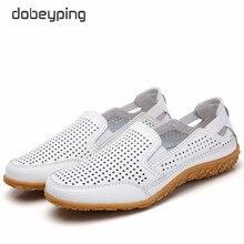 Nowe oryginalne skórzane damskie letnie buty wycięcia damskie mokasyny moda Hollow damskie mieszkania oddychające kobiece buty dobeyping