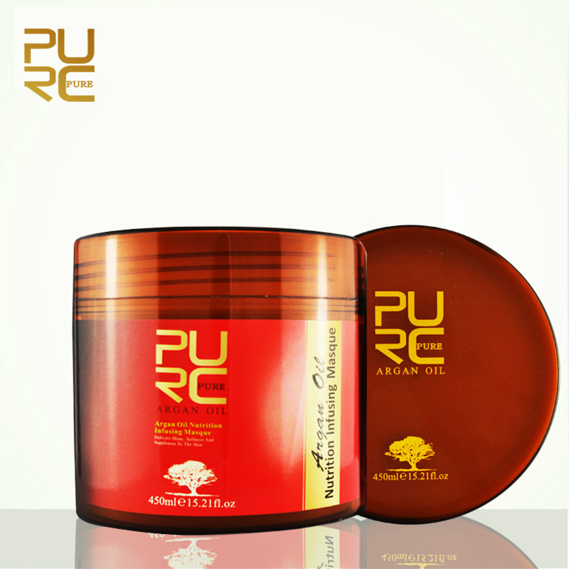 1x PURC Moroccan Argan Oil Hair Mask Nutrition Infusing Masque Repair The Hair, Softness And Shine 450ml P27 subtil elixir intense nutrition shine oil by phyto for unisex 2 x 5 oz oil