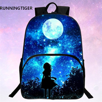 RUNNINGTIGER Children School Bags Galaxy Universe Space 24 Colors Printing Backpack For Teeange Girls Boys Star