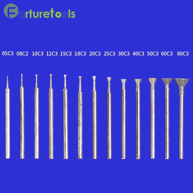 50ks diamantem nasazený hrot rotační nástroj namontovaný kola - Brusné nástroje - Fotografie 2
