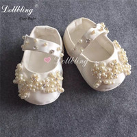 Luxury Palace Elegant Applique Patch Custom Christening Baby Shoes Perfect Occasion Sewing Big Diamond Amazing Infant Shoes