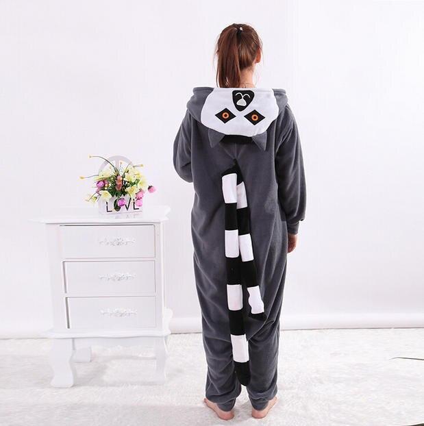 a95ebe7b94 2019 Adult Women Men Lemur Costumes Onesies Sleepwear in Winter Polar  fleece Animal Cosplay Pajamas Pyjamas Tracksuit Hallowee-in Anime Costumes  from ...
