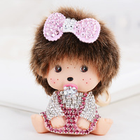 Gratis Verzending Roze Strik Leuke Baby Meisje Monchichi sleutelhanger chaveiro Sleutelhangers nieuwigheid Handtas purse charm Sleutelhangers