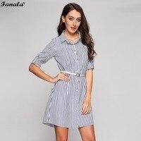 FANALA Striped Shirt Dress Women Casual Fashion Roll Up Long Sleeve Button Down Pocket Turn Down