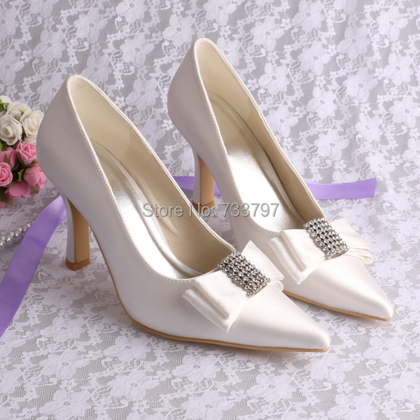 ФОТО Wedopus Name Brand Wholesale 9 CM Bow Wedding Shoes Ivory for Women