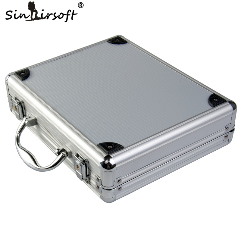 New High Quality Aluminum Alloy Tactical Hard Case Pistol Alloy Box Case Padded Foam Lining For Airsoft Hunting Case