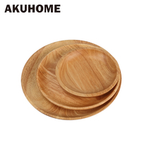 Live-R high quality beech plates wooden tableware Beech wood plate handmade log dish For daily uses or gifts