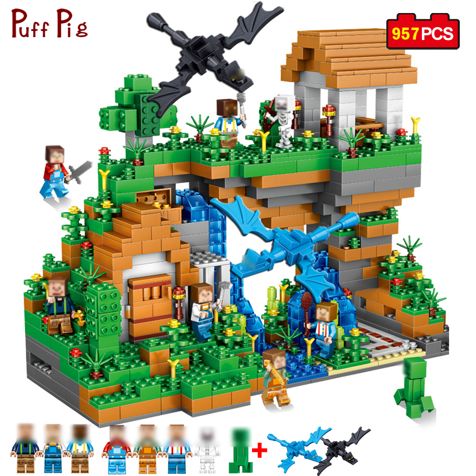 все цены на 957pcs My World Ancient Castle Adventure Mini Animal Figures Building Blocks Compatible Minecraft Legoe City Bricks Children Toy
