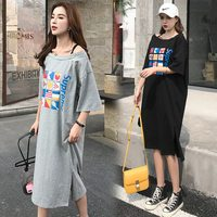 Maternity dress pregnant women dress spring and summer short sleeved t shirt skirt pregnancy dress print pregnancy skirt