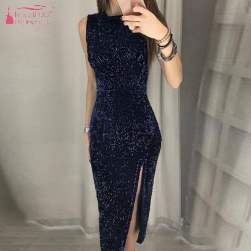 Enthusiastic Knee Length Sleeveless Straight Cocktail Dresses Blue Burgundy Black Sequined Party Gown Sexy Side Slit Women Dress Dqg733 Traveling Cocktail Dresses