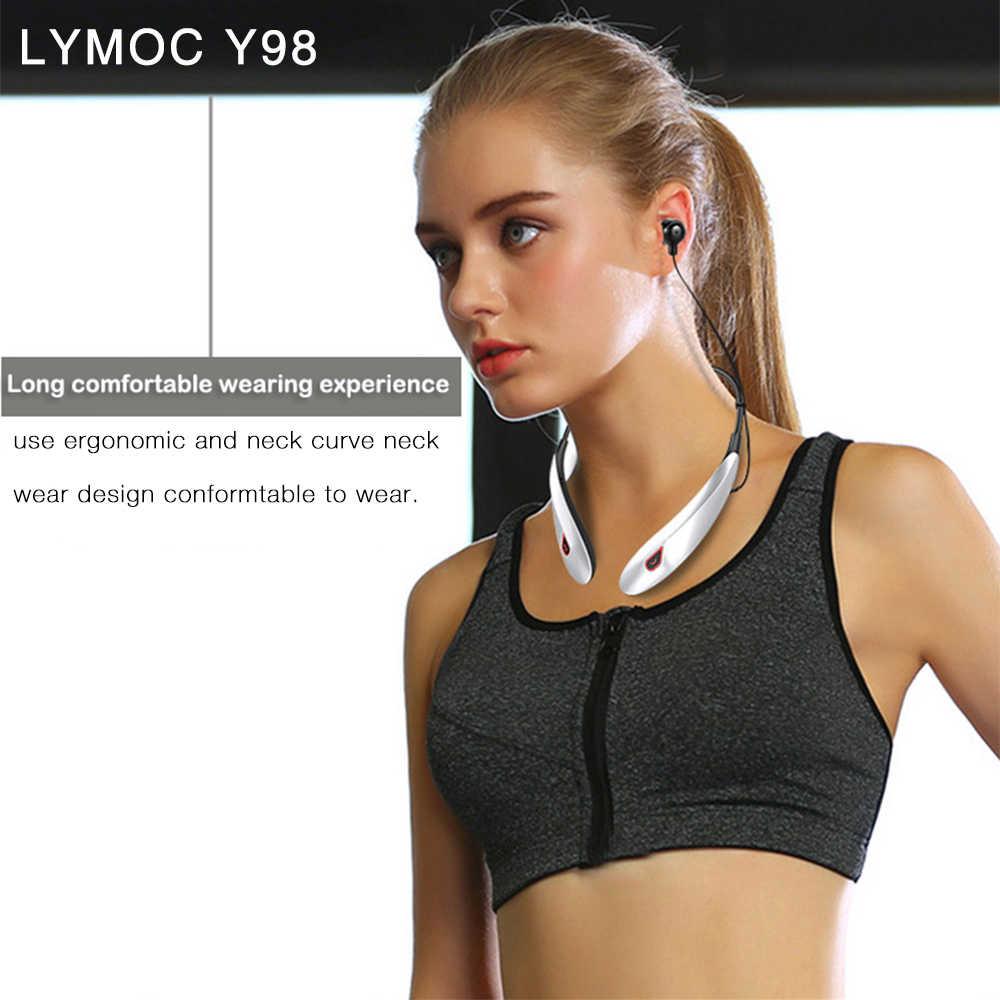 LYMOC zaczep z pałąkiem na kark bezprzewodowe słuchawki Bluetooth słuchawki Dymamic ciężki bas dźwięk słuchawki Sport z redukcją szumów dla iPhone Xiaomi
