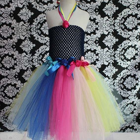 c4ed595e761e7 Colorful Girls Tutu Dresses Kids Handmade Fluffy Crochet Tulle Tutus Ball  Gown with Flowers Children Wedding Party Dress Clothes