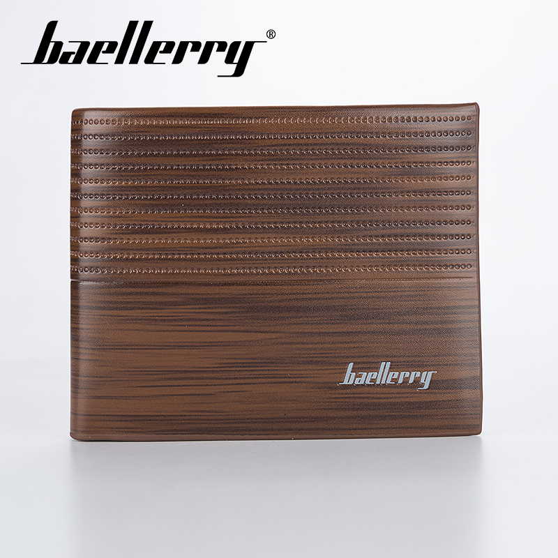 Baellerry Men Solid Wood Grain Short Wallet PU Leather Clip No Zipper Coin Pocker Card Holder Photo Casual