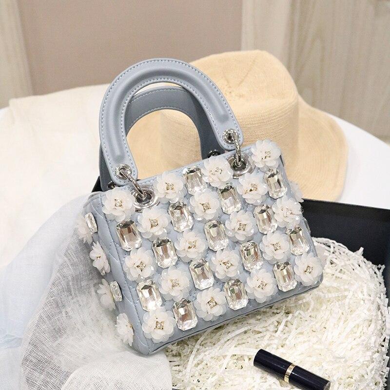 original 2018 summer new IN super fire inlaid diamond flower Lingge pattern single shoulder handlebar bag