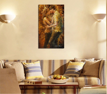 Hand Painted Wall Art Painting by Number Calligraphy Handmade Modern Abstract Knife Portrait Couple Kiss Canvas Oil Paintings