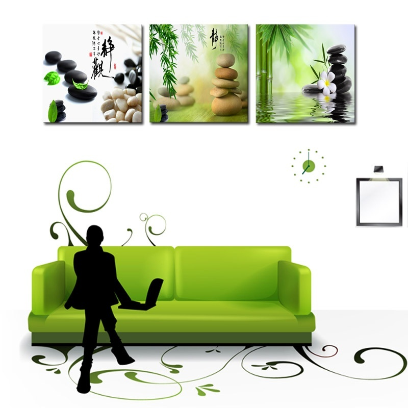 Frame 3 Panels Unframed Canvas Photo Prints Zen Stone Flower Bamboo Wall Art Picture Canvas Paintings Wall Paintings Home Decor