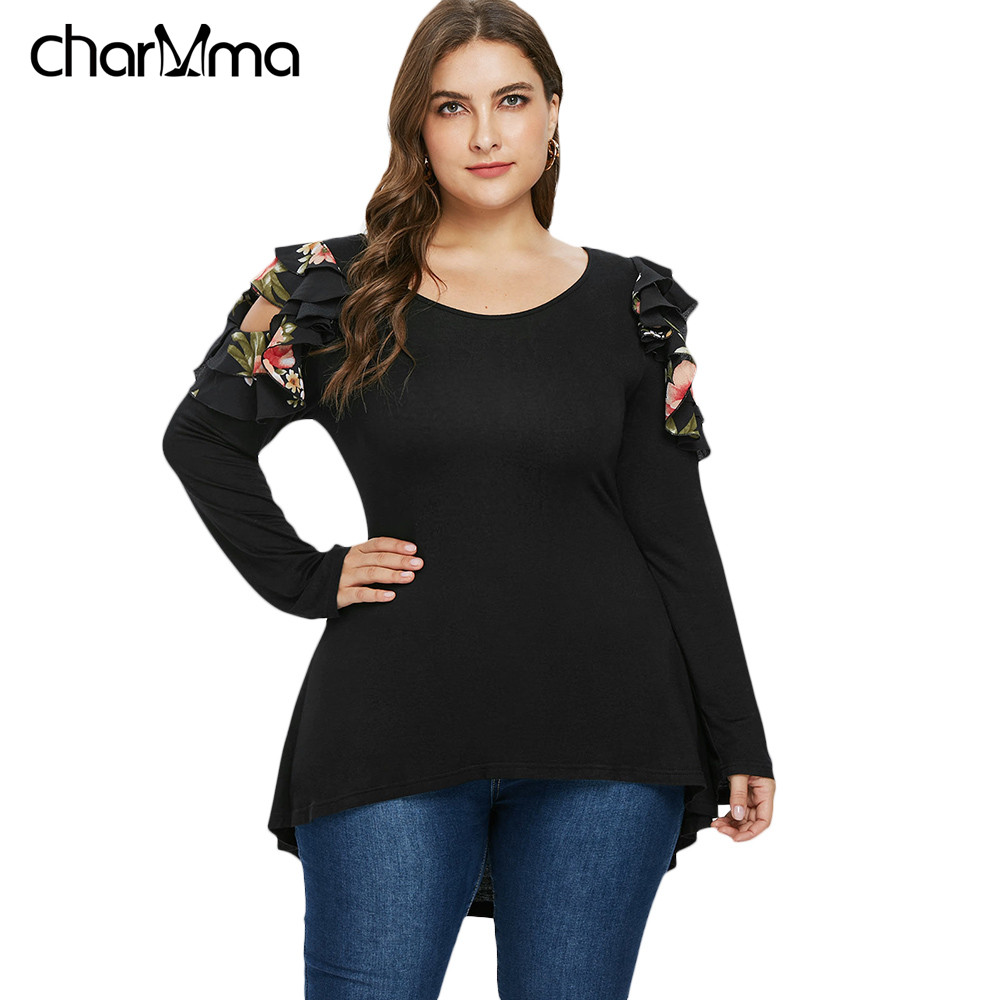 6eca407bf72 Detail Feedback Questions about T Shirts Plus Size Ruffle Cold Shoulder gothic  T Shirt Women Autumn Fashion Scoop Neck Long Sleeve streetwear Tshirts top  ...