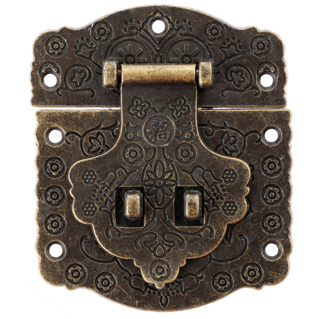 Antique Drawer Latches Decorative Hasp Jewelry Wooden Box Suitcase Hasp  Lock Latch 70*60mm With - Antique Drawer Latches Decorative Hasp Jewelry Wooden Box Suitcase