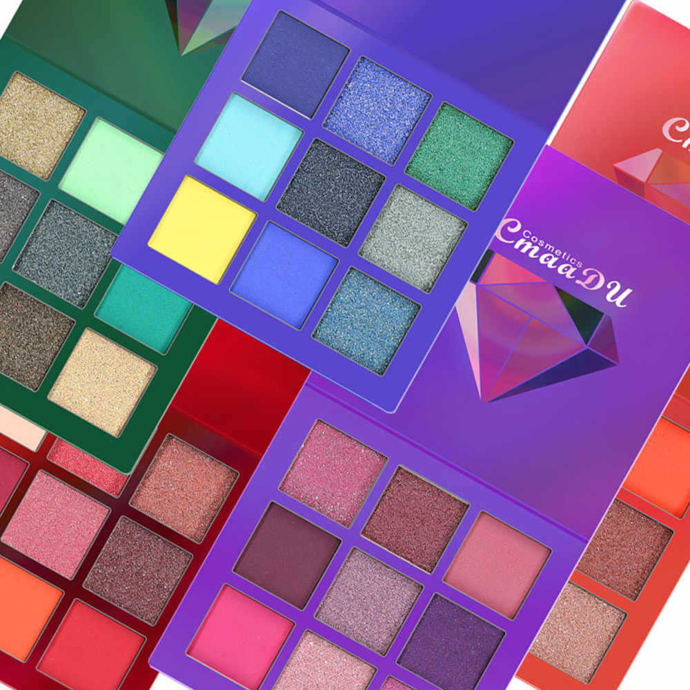 9 cores sombra de olho paleta de maquiagem glitter paleta sombra palete à prova dwaterproof água glitter sombra shimmer cosmeticsf4.16