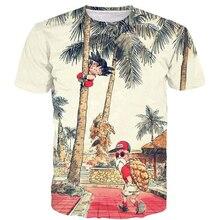 Cute Kid Goku and Cool Master Roshi Prints Tshirts Anime T Shirts Men Women Fashion Tree Scenery 3D t shirt Vintage tees