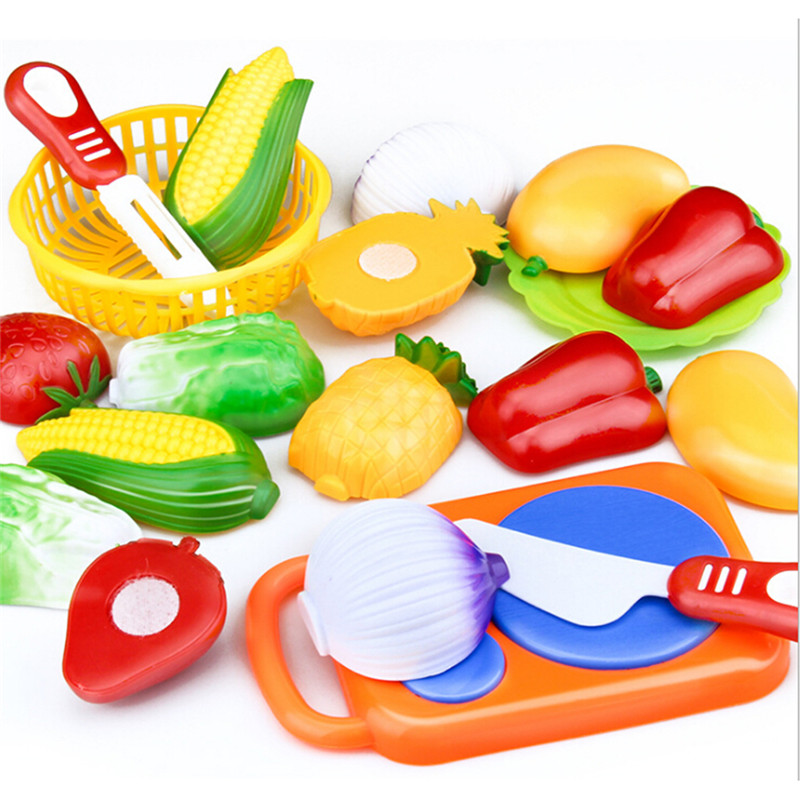 12Pcs/Set Safe Children Play House Toy Cut Fruit Plastic Vegetables Kitchen Classic Baby Kids Toys Pretend Educational Toys