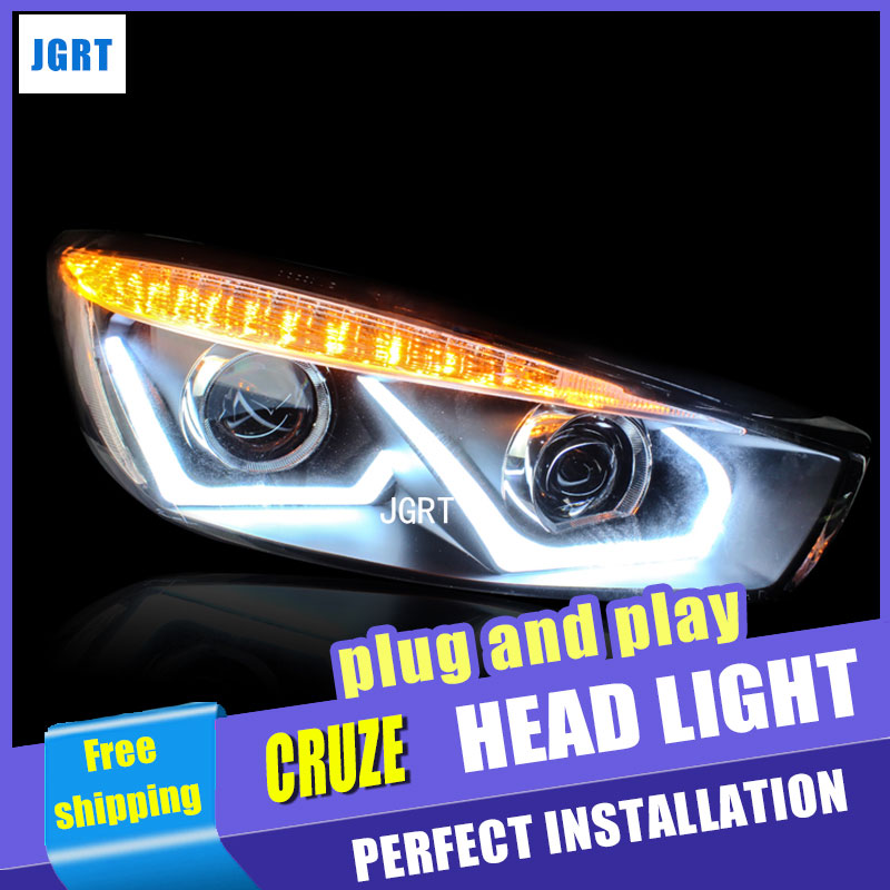 car styling For Chevrolet Cruze headlight assembly angel eyes 2014-2016 For Cruze xenon lens h7 with hid kit 2 p автомобильный коврик seintex 82261 для chevrolet cruze