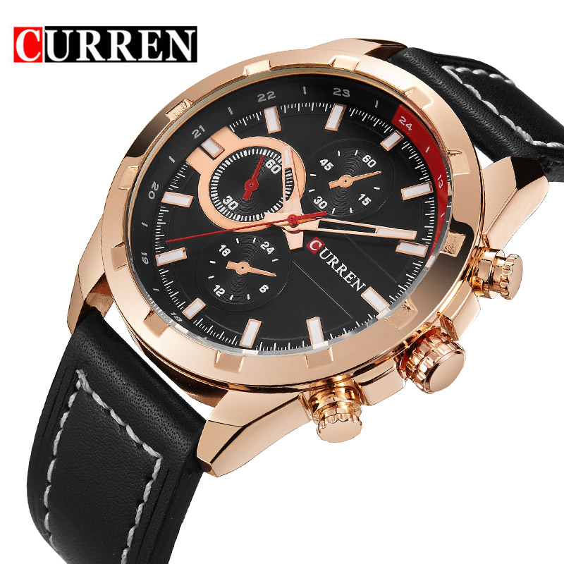 CURREN Mens Watches Top Brand Luxury Quartz-watch business Men Quartz Casual male Sport Watches Gold Watch Men relogio masculino curren 8148 male quartz watch