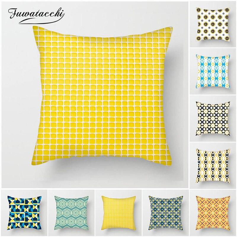 Fuwatacchi Amarelo Capa de Almofada Geométrica Multi-cor Coração Diamante Capa Jogar Travesseiro para o Sofá de Casa Cadeira Almofadas Decorativas
