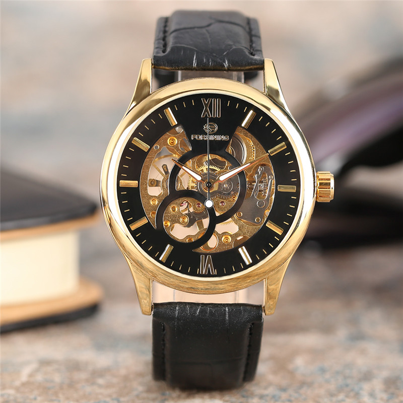 FORSINING Cost-effective Casual Luxury Men Mechanical Wristwatch Roman Numeral Dial Genuine Leather Band Hand Wind Watches Gift forsining luxury mmechanical men wristwatch genuine leathe band unique design dial cost effective male casual fashion watch