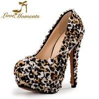 Love Moments Lace Leopard Shoes Woman High Heels Wedding Shoes Bride Pumps Platform Evening Dress Shoes