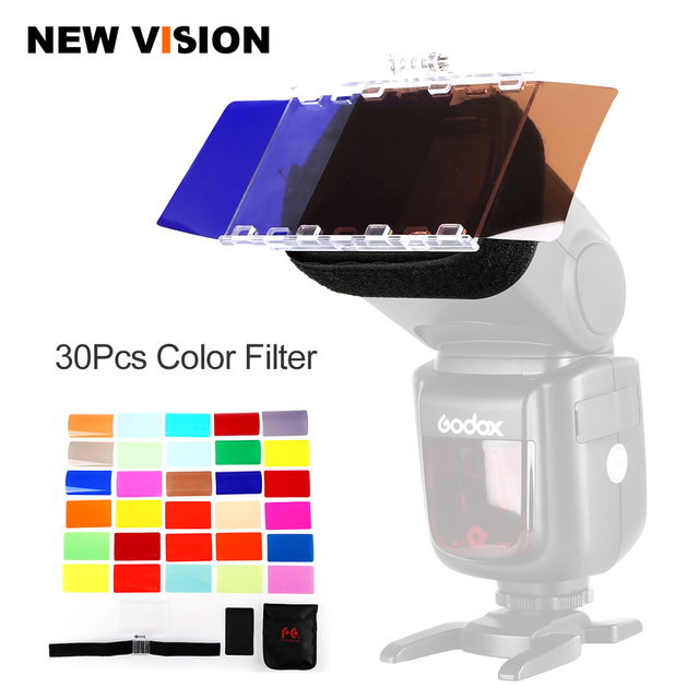 Falcon Eyes CFA 30K Kit Flash Speedlite 30 Colors Color Gel with Barndoor & Reflector & Bag for Canon Nikon YONGNUO GODOX flash