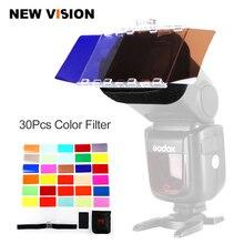 Kit de CFA 30K yeux de faucon Flash Speedlite 30 couleurs Gel de couleur avec porte dentrée et réflecteur et sac pour Canon Nikon YONGNUO GODOX flash