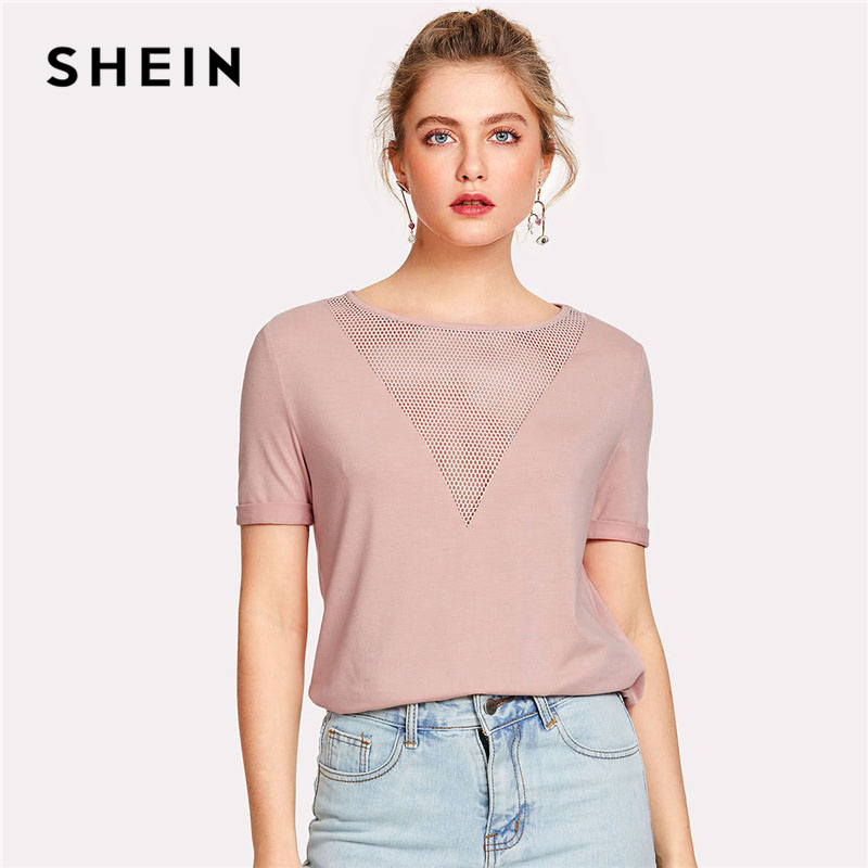 SHEIN Pink Eyelet Mesh Round Neck Plain T-shirt Women Short Sleeve Stretchy Tee 2018 Summer Casual Roll Up Sleeve Top Tee metallic stretchy slimming tee