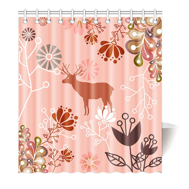 Elk And Flower Fish Shower Curtain Funny Cartoon Decor For Children Playful Hipster Polyester Fabric Bathroom