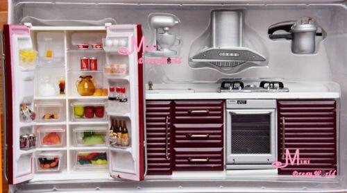 Kühlschrank Puppenhaus : Puppenhaus miniaturekitchen zimmer möbel rot herd ofen frige