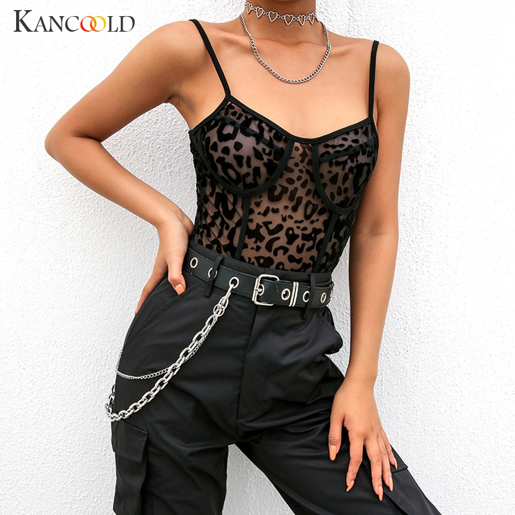 KANCOOLD   Jumpsuit   Fashion Women Leopard Print Club Bodysuits Perspective Sling Crop Straps Party new   jumpsuit   sexy 2019JAN4