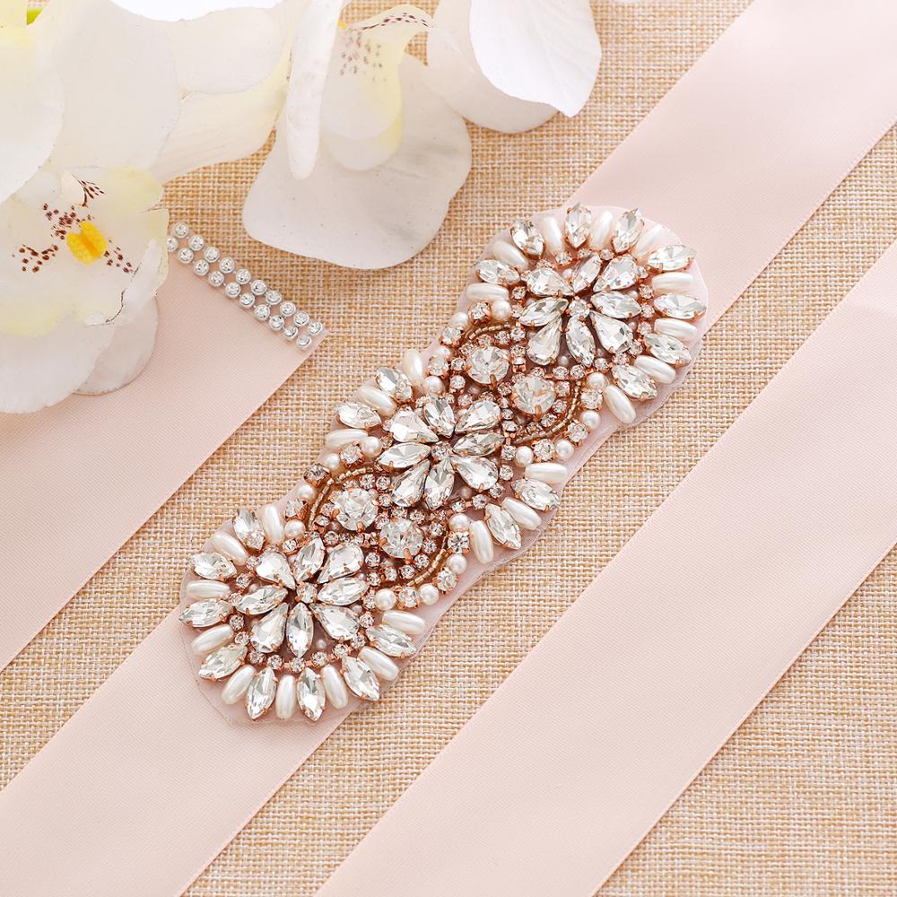 Rose Gold Pearls Bridal Sash Rhinestones Wedding Dress Belt Hand Beaded Bridal Belt For Wedding Party Dress A203RG