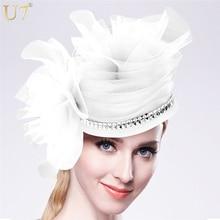 U7 pelo marca de accesorios de joyería de las mujeres encantos fascinator casco de la boda de cóctel estilo europeo señora headwear blanco sombrero f303