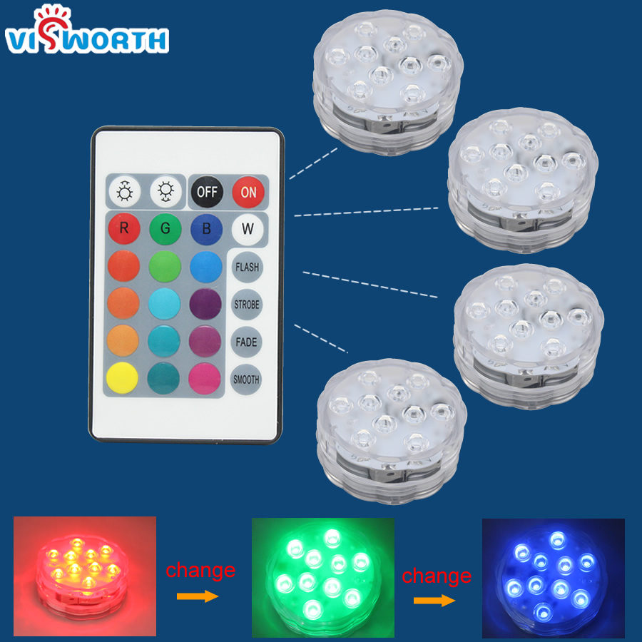 IP68 Waterproof Swimming Pool Light RGB Submersible Lamp With Remote For Aquarium Pond Glass Vase