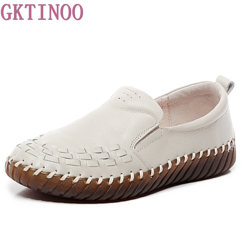 GKTINOO Genuine Leather Shoes Women Soft Women's Loafers Slip On Woman's Flats Shoe Flat Heel Moccasins Large Size 35-41 pl us size 38 47 handmade genuine leather mens shoes casual men loafers fashion breathable driving shoes slip on moccasins