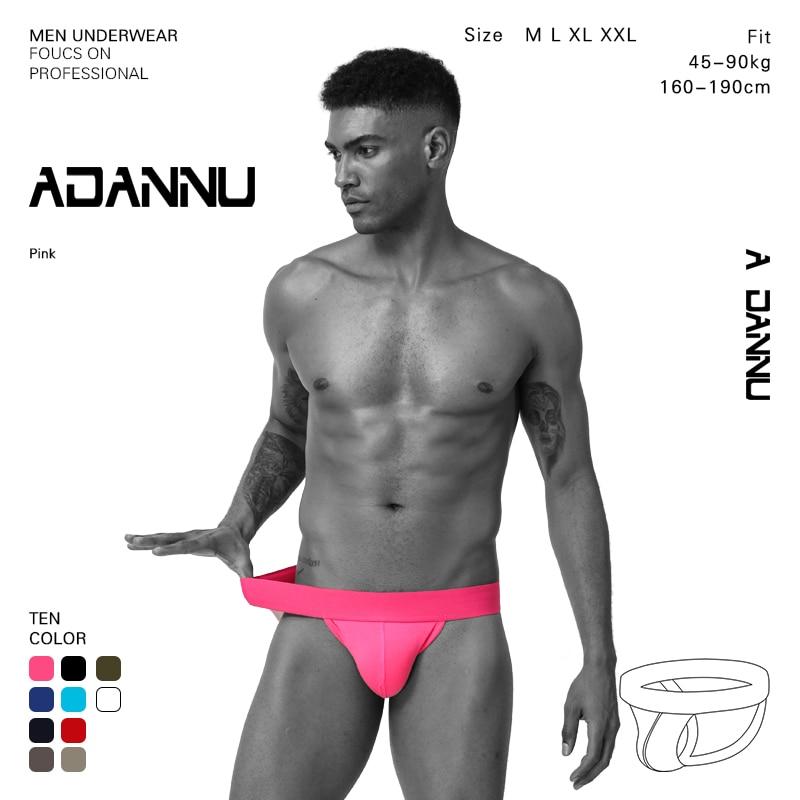 ADANNU Men Sexy Underwear Panties Briefs Men Mesh  Sexy Tanga Hombre Sexy Gay  Jockstrap Penis Push Thongs Short Underwear